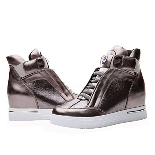 Dunhu Femmes Fashion Chaussures De Marche En Cuir Verni Plat Sneaker (noir / Or) Or
