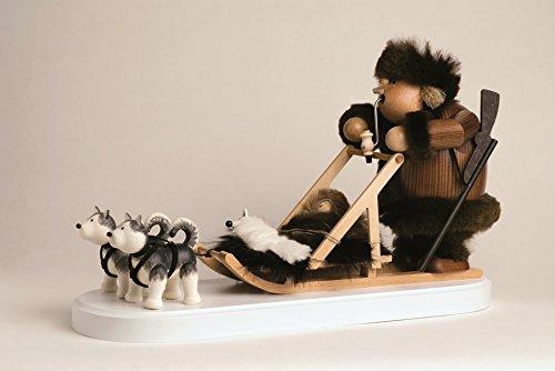 Smoking figure Eskimo with dog sled 21 cm smoke figure Smoking man figurine Incense man ore mountains