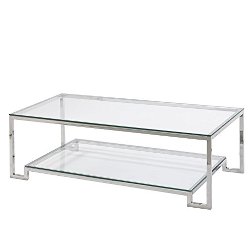 Uptown Club JACKSON Collection Steel & Glass Large Coffee Table with Lower Shelf (Large Glass Coffee Table)
