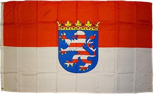 Bandera de Hesse con Escudo Tamaño 90 x 150 cm aprox. Calidad de Tela Buena, No Mercancía China Peso de Tela 90 g/m2 aprox.: Amazon.es: Jardín