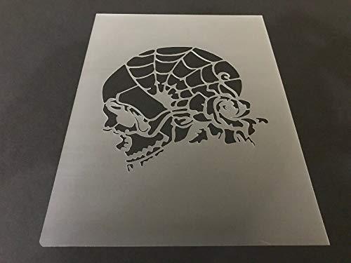(Skull #23 Stencil 7mm Thick, Crafts, Skulls, Tattoo, Airbrush, Halloween 8 x 10.5 inches)