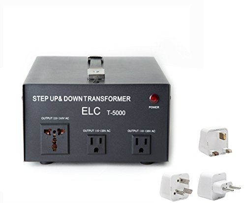 5000 Watt Best International Power Voltage Converter Transformer - Step Up/Down - 110V/220V - With Worldwide UK/US/AU/EU European Plug Adapter - 3 Outlets