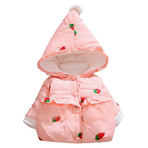 Embroidered Creeper - succeedtop Baby Coat Toddler Kid Girl Winter Padded Cute Cotton Hooded Coat Warm Jacket Clothes Outerwear Embroidered Long Sleeve Blouse Top for Children Toddler Baby Girl Kid Costume (6-12M, Pink)