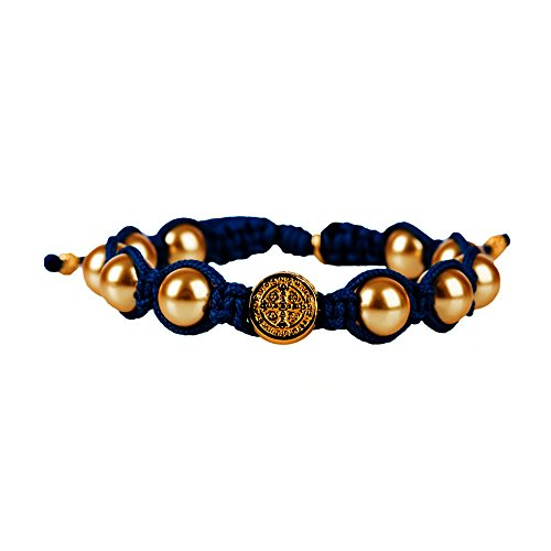 My Saint My Hero Divine Blessings Gold Pearl Bracelet on Navy Hand-Woven Cord ()