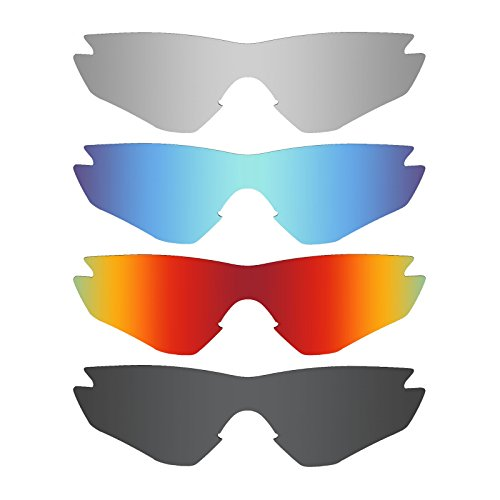 Mryok 4 Pair Polarized Replacement Lenses for Oakley M2 Frame Sunglass - Stealth Black/Fire Red/Ice Blue/Silver - M2 Frame