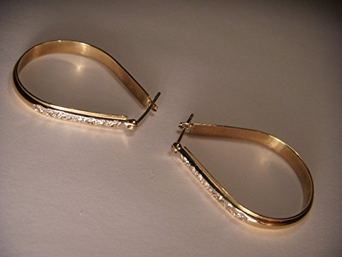 Estate Pave Earrings - Gorgeous Estate 14K Yellow Gold Diamond Pave Hoop Hoops Earrings