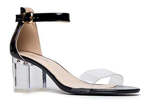 J. Adams Daisy Clear Ankle Strap Heel, 9 B(M) US, Black for $<!--$29.99-->
