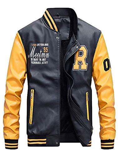 TOP Fighting Men's Basic Leather Letter Man Baseball Varsity Jacket Bomber Outwear ()