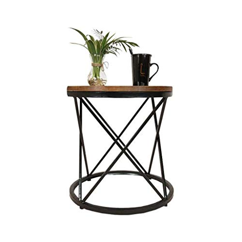 L-Life End Tables Side Table Round Living Room Wrought Iron Coffee Table, Bedroom Desk Outdoor Garden Table (Size : 5050cm)