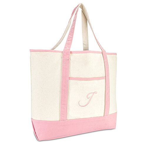 DALIX Women's Cotton Canvas Tote Bag Large Shoulder Bags Pink Monogram J