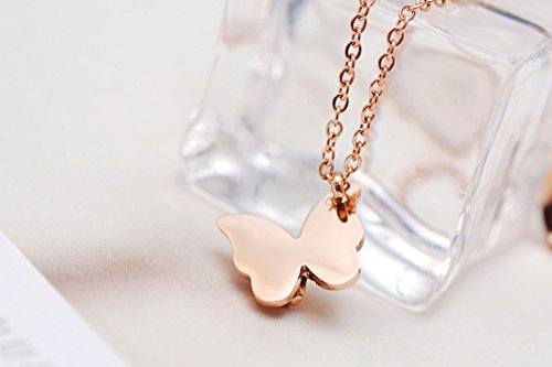 bf5dce29b WDSHOW Butterfly Pendant Necklace Rose Gold Filled Stainless Steel 16-18  inches