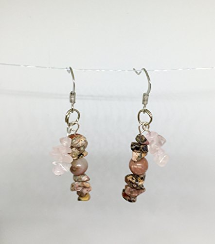 - Jasper, Rhodonite & Rose Quartz Gemstone Earrings//Jasper Earrings//Rhodonite Earrings//Rose Quartz Earrings//Gemstone Earrings