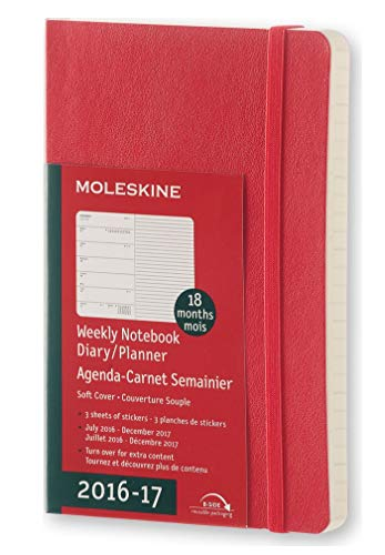 Moleskine 2016-2017 Weekly Notebook, 18M, Pocket, Scarlet Red, Soft Cover (3.5 x 5.5)