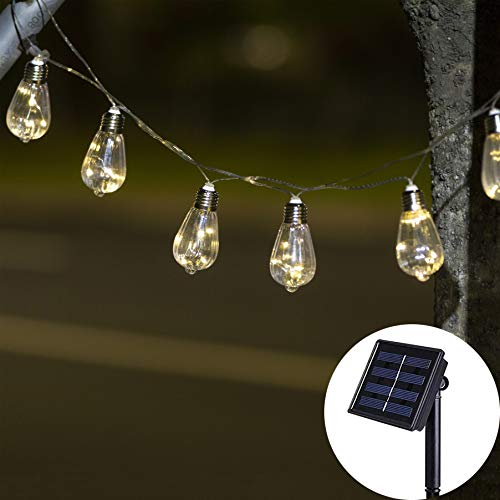 Elnsivo Fairy String Lights Solar Operated 10Bulbs Decorative Light Chain Hanging Lighting for Indoor/Outdoor Home,Garden,Xmas Tree,Party,Wedding,Festival,Patio(Solar Jack Fruit String Lights) ()