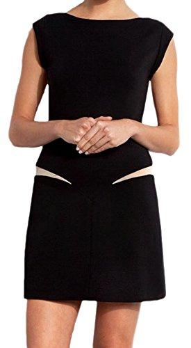 erdbeerloft–Mujer Estilo Años 70'er Mini vestido/Dress de 2colores, Nude refinada/Negro delante/detrás de imitación, 38–40, Negro