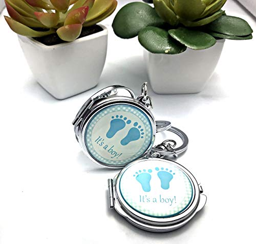 OOKI-12 PCS Baby Shower Mini Compact Mirror Keychain Favor with Organza Bag Blue Footprint Design for Boy