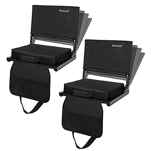 Sheenive Reclining Stadium Seats for Bleachers, Padded Cushion Stadium Chairs for Bleacher with Back Support and Shoulder Strap, 4 Reclining Positions, Detachable Seat for Multi Use, 2 Pack, Black