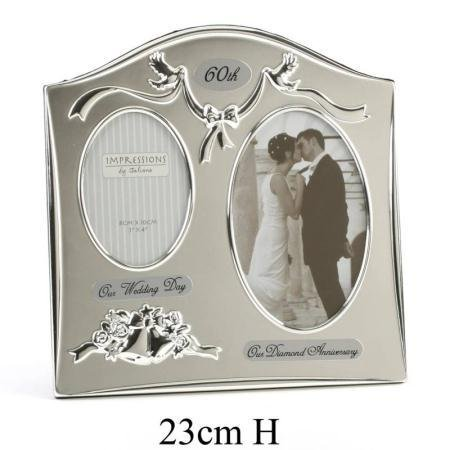 60th Wedding Anniversary Double Photo Frame Amazoncouk Kitchen