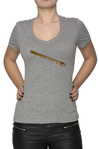 Flûte Gris Coton Femme V-Col T-shirt Manches Courtes Grey Women's V-neck T-shirt