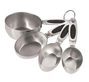Oggi Stainless Steel Measuring Cups with Ez Grip Santoprene Handles, Set of 4