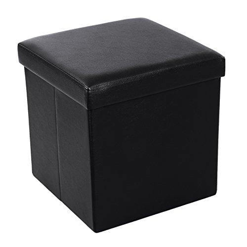 Black Leather Cube Ottoman - 9