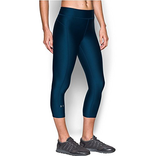 Under Armour Women's HeatGear Armour Capri,Blackout Navy (997)/Metallic Silver, Large