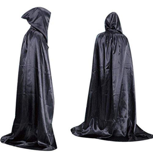 [Oksale® Halloween Death Hooded Fluff Fiber Cloak Adult Long Section Of Mopping The Floor Masquerade Cope Robe (black)] (80s Prom King And Queen Costume)