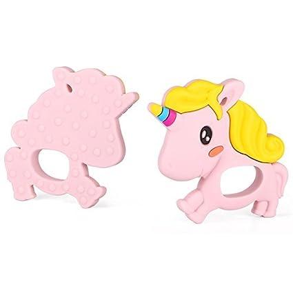 Includes Gift Bag Christmas Tree Pink Unicorn hellobabyLA BPA Free Silicone Teether Adorable Freezable Teethers 100/% BPA Free Baby Natural Teething Relief