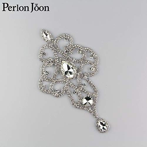 Pukido 3.827.64 inch AB Color Crystal Applique Rhinestone Epaulet Used in Shoulder for The Wedding Dress Clothing Accessories YH Z002 - (Color: Sliver) ()