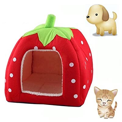 KINGMAS Cute Soft Sponge Strawberry Pet Cat Dog House Bed Warm Cushion Basket Size:S by akezone