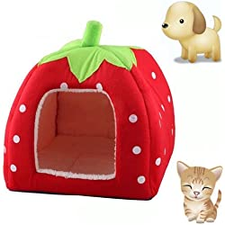 KINGMAS Cute Soft Sponge Strawberry Pet Cat Dog House Bed Warm Cushion Basket Size:S by akezone