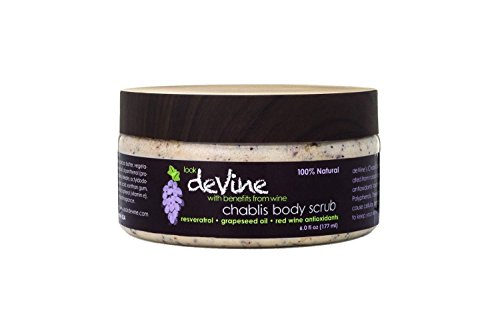 deVine Beauty Chablis Grapeseed Body Scrub- Exfoliate and Replenish with Essential Oils and Antioxidants- Anti-Aging and Ultra Moisturizing using the Benefits of Wine