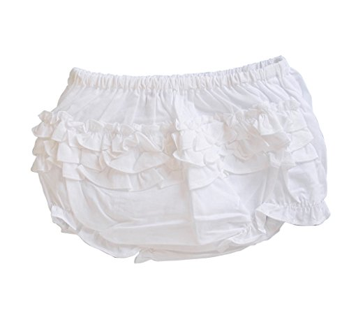 Baby Girl Diaper Cover - Carriage Boutique Baby Girl Ruffle Panty Diaper Covers - White Bloomers, 12M
