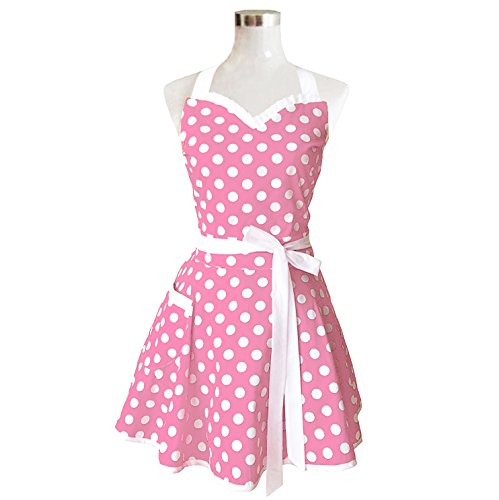 Hyzrz Lovely Sweetheart Pink Retro Kitchen Aprons Woman Girl Cotton Polka Dot Cooking Salon Pinafore Vintage Apron Dress Christmas (50s Aprons For Women)