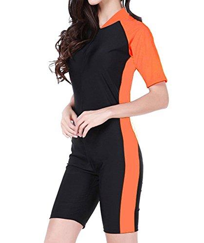 Summer Short Sleeve Swimwear One Piece Swimsuit For Women (Orange) - 4