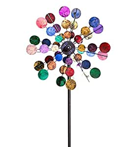 """Plow & Hearth 53929-BRT Solar Sparkler Wind Spinner Powder-Coated Metal with LED Lights, 24"""" Diameter x 10"""" D x 75"""" H, Multicolored"""
