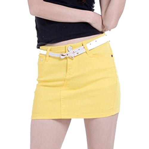 Corta Cayuan Denim Minigonna Elasticizzata Gonne Bodycon a Matita Jeans Giallo di da Estate Donna Gonna q7SngBS4w