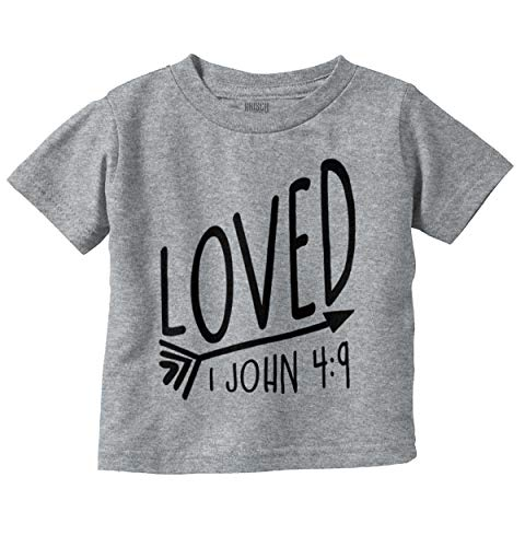 Brisco Brands Loved Bible Verse Christian New Baby Gift Infant Toddler T Shirt (Religious Jerseys)