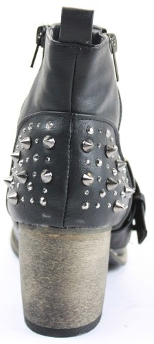 Womens Cowboy Booties Low Heels Shoes Medium Ankle Boots Size 3 - 8 Black H8hKtwB