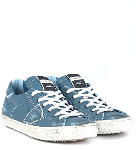 Sneaker Philippe Model Bercy en piel efecto lavado verde azulado Azul