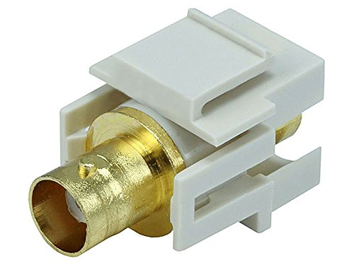 MyCableMart Wall Plate: Keystone Jack - BNC Recessed, Gold Plated, Ivory