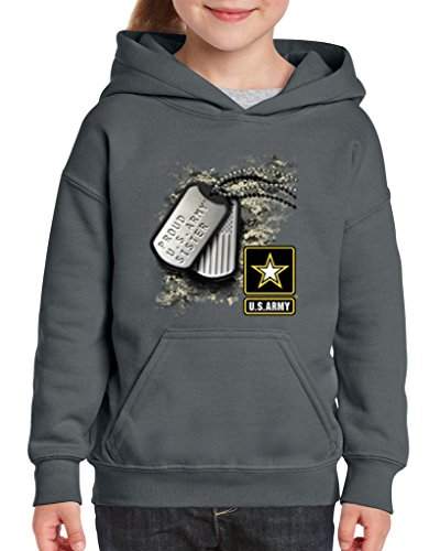 Hoodie Kids Sister (Acacia Proud U.S. Army Sister Tag Unisex Hoodie For Girls and Boys Youth Sweatshirt Large Charcoal)