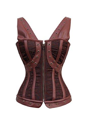 ブラザー日楽観的Brown Brocade Leather Shoulder Strap Steampunk Waist Cincher Overbust Corset Top