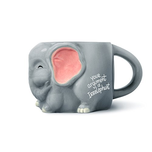 Mug Elephant Coffee (Luckyoo 'Your Argument is Irrelephant' Elephant Ceramic Mug)