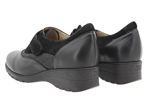 Piesanto 9956 Mujer Velcro Ancho Zapato Negro De Casual Piel Confort Cómodo Calzado dSqwIXX