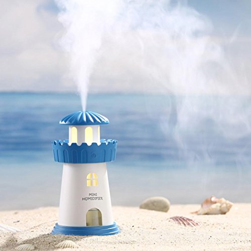 LED Lighthouse Humidifier Air Diffuser Purifier Atomizer Home Decoration By Makaor (240 ML, Blue) by Makaor