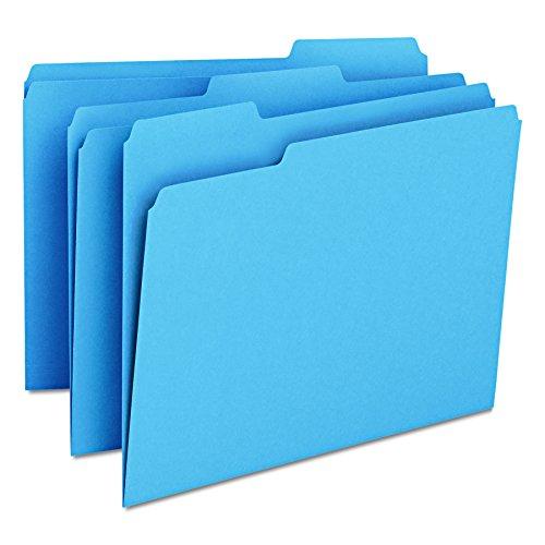 - Smead File Folder, 1/3-Cut Tab, Letter Size, Blue, 100 per Box (12043)