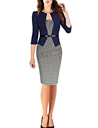 FORTRIC Women 3/4 sleeve Stitching Belted OL Wear to Work Peplum Pencil Dress