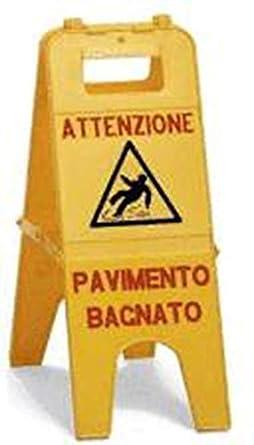 CARTELLO SEGNALE PERICOLO PAVIMENTO BAGNATO- ACCESSORI PULIZIA ...