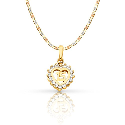 Ioka Jewelry - 14K Yellow Gold Sweet 15 Years Quinceanera Heart Cubic Zirconia CZ Charm Pendant with 1.5mm Valentino Chain Necklace - 20